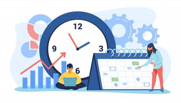 Deux personnes devant un calendrier, une horloge et un graphique