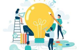 Trois hommes et une femme s'affaires autour d'une ampoule pour trouver une idée