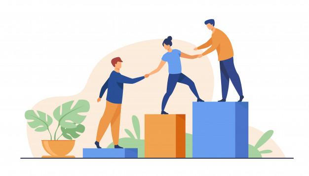 Fonds résilience -Trois employés s'aident à monter des escaliers
