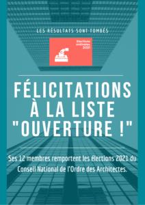 """Félicitations """"Ouverture !"""" élections CNOA 2021"""